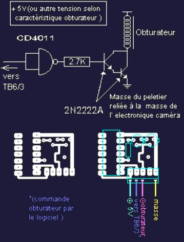 Schéma de l'électronique de l'obturateur