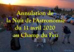 Annulation de la Nuit de l'Astronomie du 11 avril 2020
